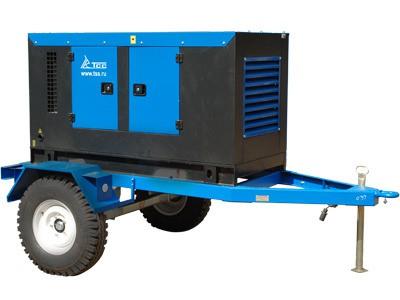 Дизельный генератор ТСС ЭД-70-Т400-1РПМ11 в кожухе на шасси